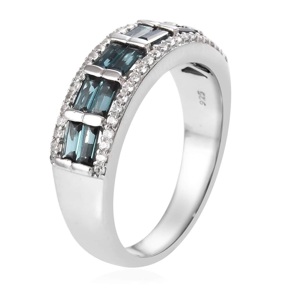 Monte Belo Indicolite, Zircon Ring in Platinum Over Sterling Silver (Size 8.0) (Avg. 7.20 g) 2.00 ctw