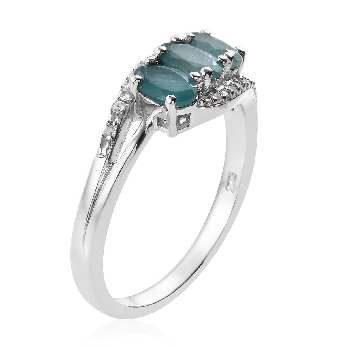 Grandidierite, Zircon Bypass Ring in Platinum Over Sterling Silver (Size 5.0) 1.50 ctw
