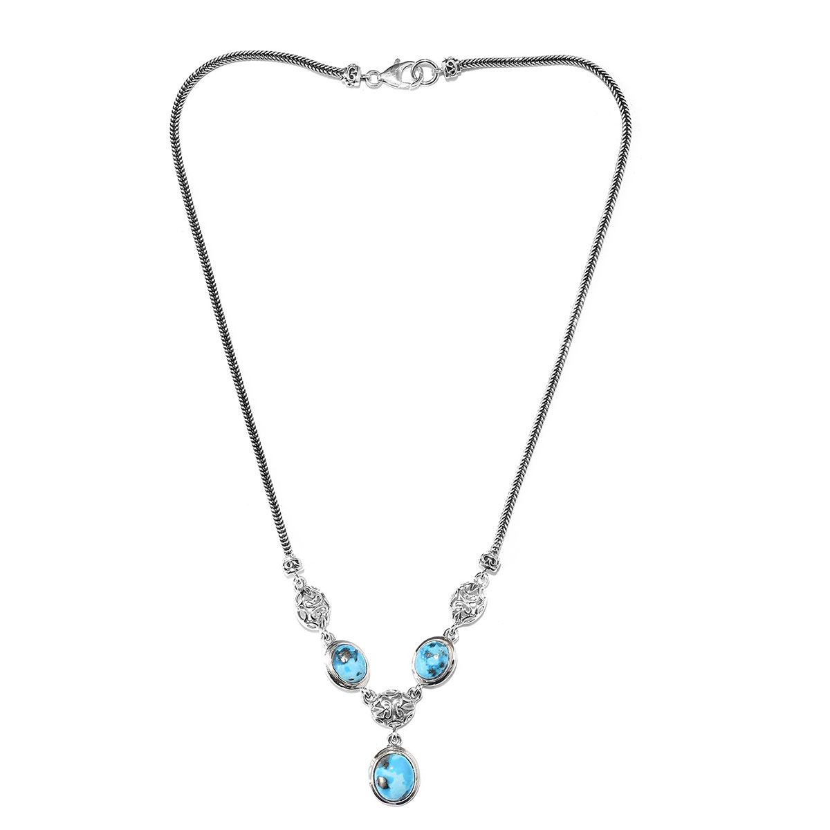 Artisan Crafted Persian Turquoise Foxtail Necklace (18 in) in Sterling Silver (18.38 g) 10.45 ctw