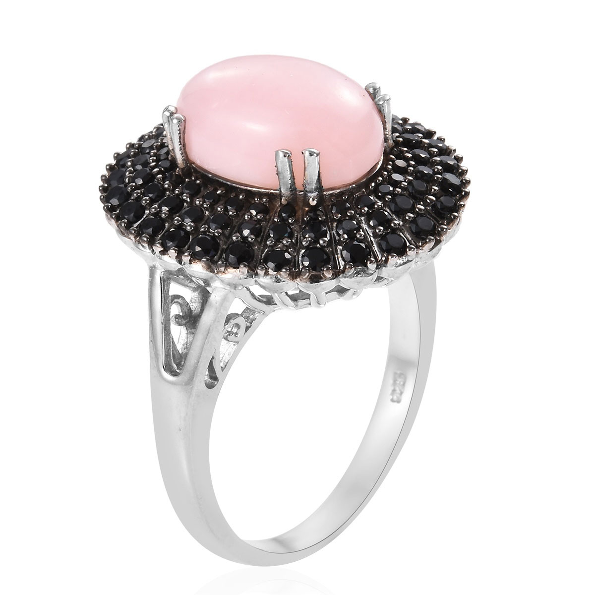 Peruvian Pink Opal, Thai Black Spinel Ring in Black Rhodium & Platinum Over Sterling Silver (Size 5.0) 5.60 ctw