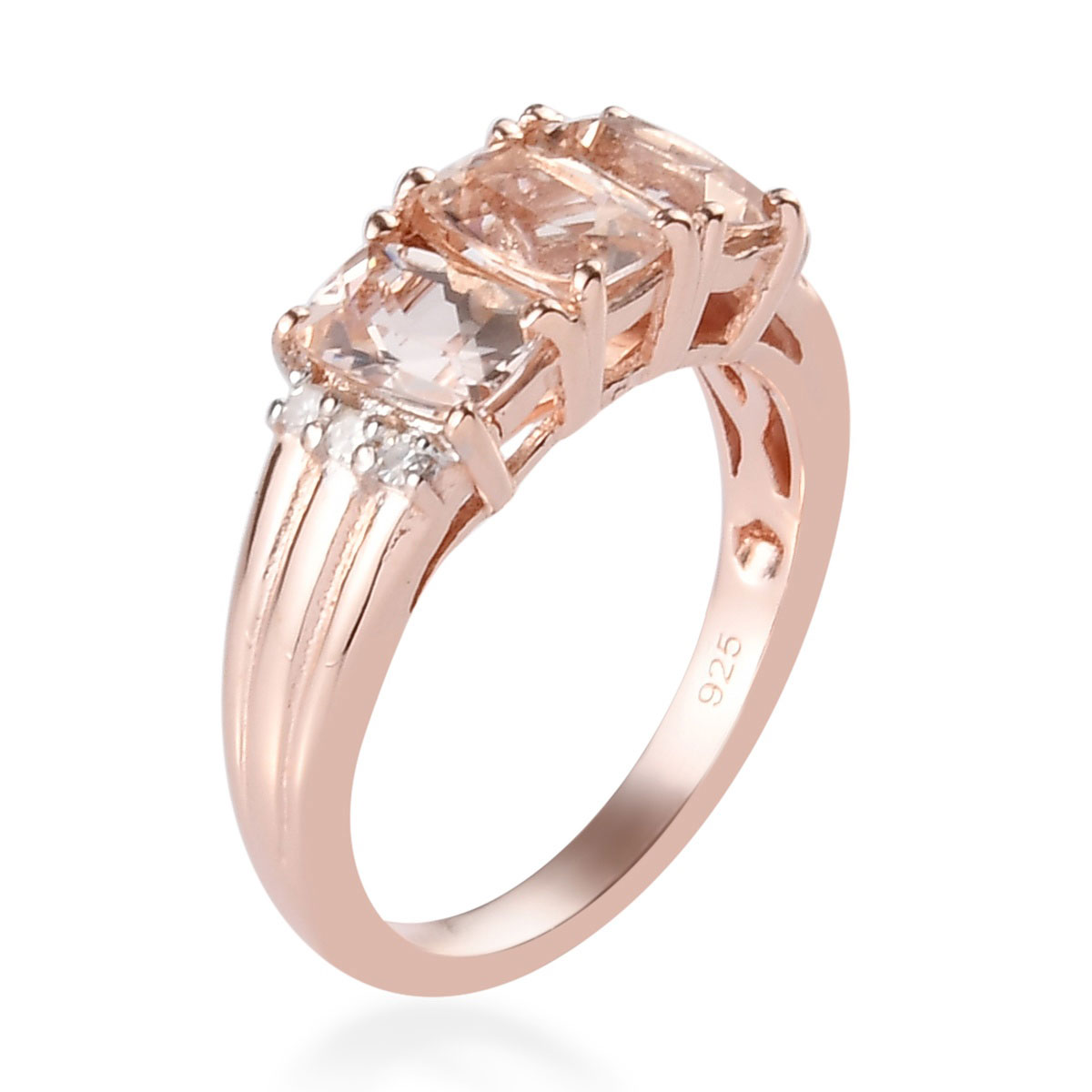 Marropino Morganite, Diamond Accent Ring in Vermeil RG Over Sterling Silver (Size 8.0) 1.44 ctw