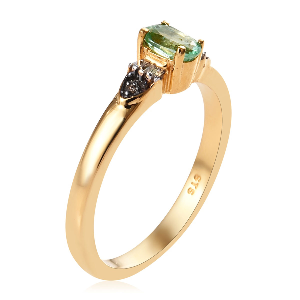 Ethiopian Emerald, Diamond (0.12 ct) Ring in Vermeil YG Over Sterling Silver (Size 6.0) 0.57 ctw