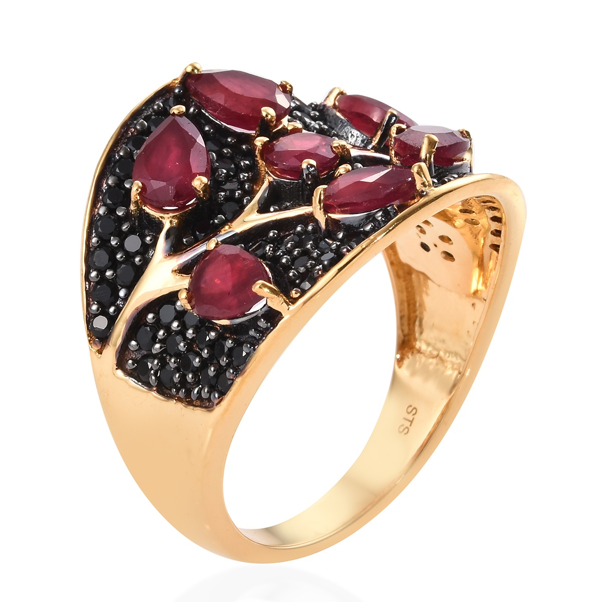 Niassa Ruby, Thai Black Spinel Ring in Rhodium & Vermeil YG Over Sterling Silver (Size 10.0) 5.55 ctw