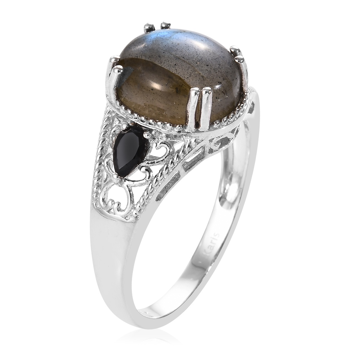KARIS Malagasy Labradorite, Thai Black Spinel Ring in Platinum Bond Brass (Size 11.0) 6.46 ctw