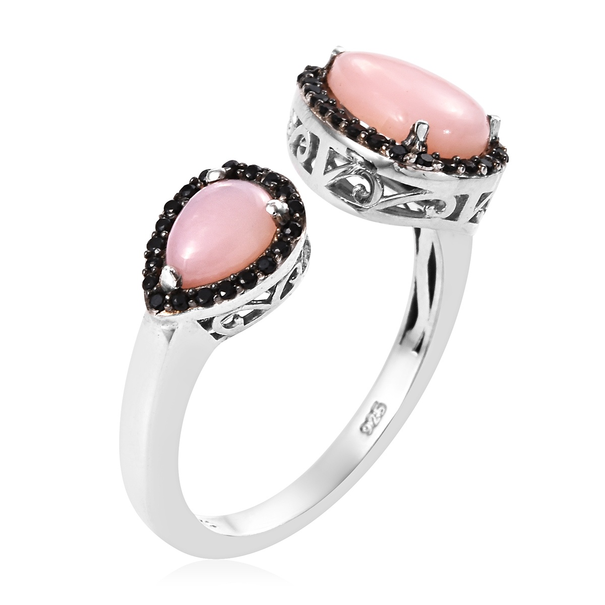 Peruvian Pink Opal, Thai Black Spinel Ring in Platinum Over Sterling Silver (Size 6.0) 2.46 ctw