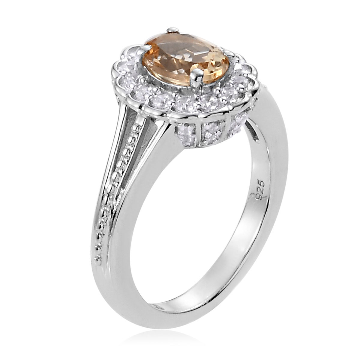 Golden Imperial Topaz, Zircon Ring in Platinum Over Sterling Silver (Size 9.0) 1.46 ctw