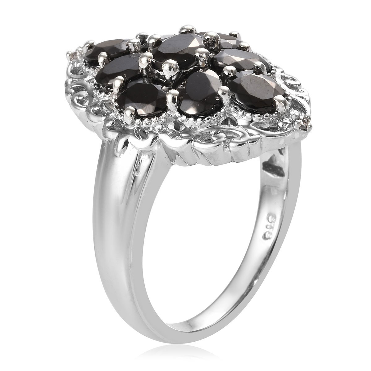 Shungite, Zircon Ring in Platinum Over Sterling Silver (Size 8.0) 2.03 ctw