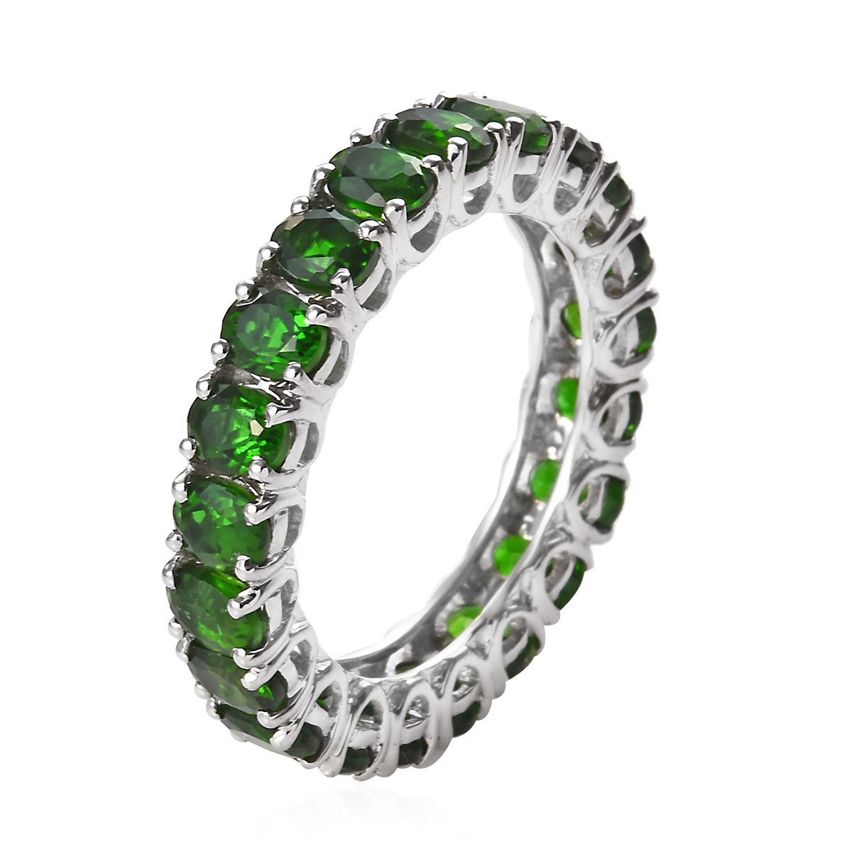 Russian Diopside Eternity Band Ring in Platinum Over Sterling Silver (Size 5.0) 4.00 ctw