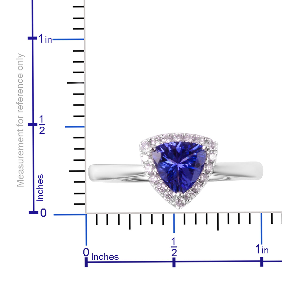 ILIANA AAAA Premium Tanzanite, Diamond (0.13 ct) Halo Ring in 18K White Gold (Size 8.0) 0.88 ctw