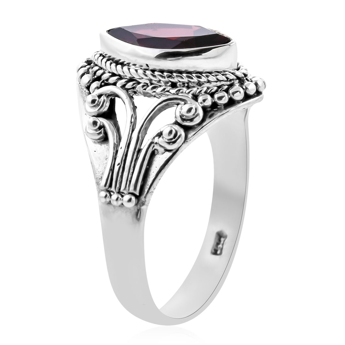 Solitaire Ring 925 Sterling Silver Round Garnet Gift Jewelry Size 10 Cttw 1.8