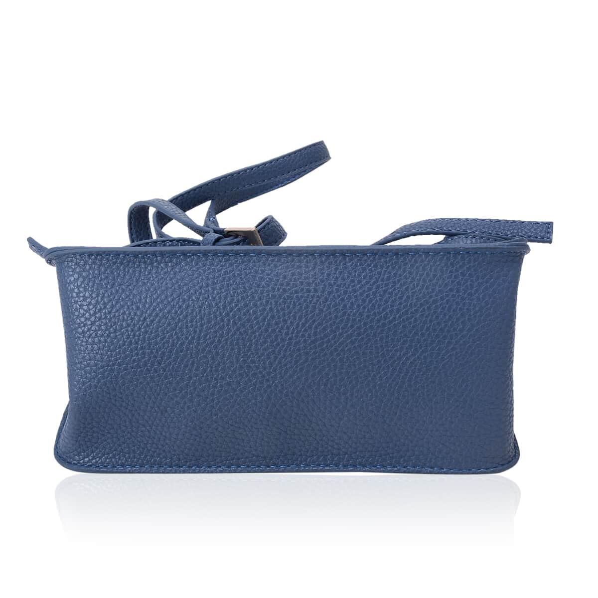 Blue Faux Leather Crossbody Bag (8x4x7 in)