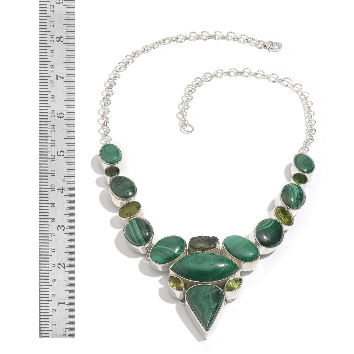 Artisan Crafted African Malachite, Hebei Peridot, Bohemian Moldavite,  Russian Diopside Necklace (18 in) in Sterling Silver Nickel Free TGW  165 500