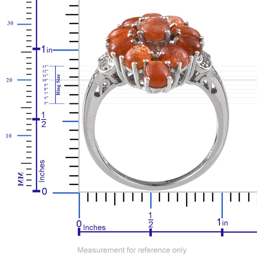 Madras Sunstone, White Topaz Platinum Over Sterling Silver Ring (Size 6.0) TGW 4.480 cts.