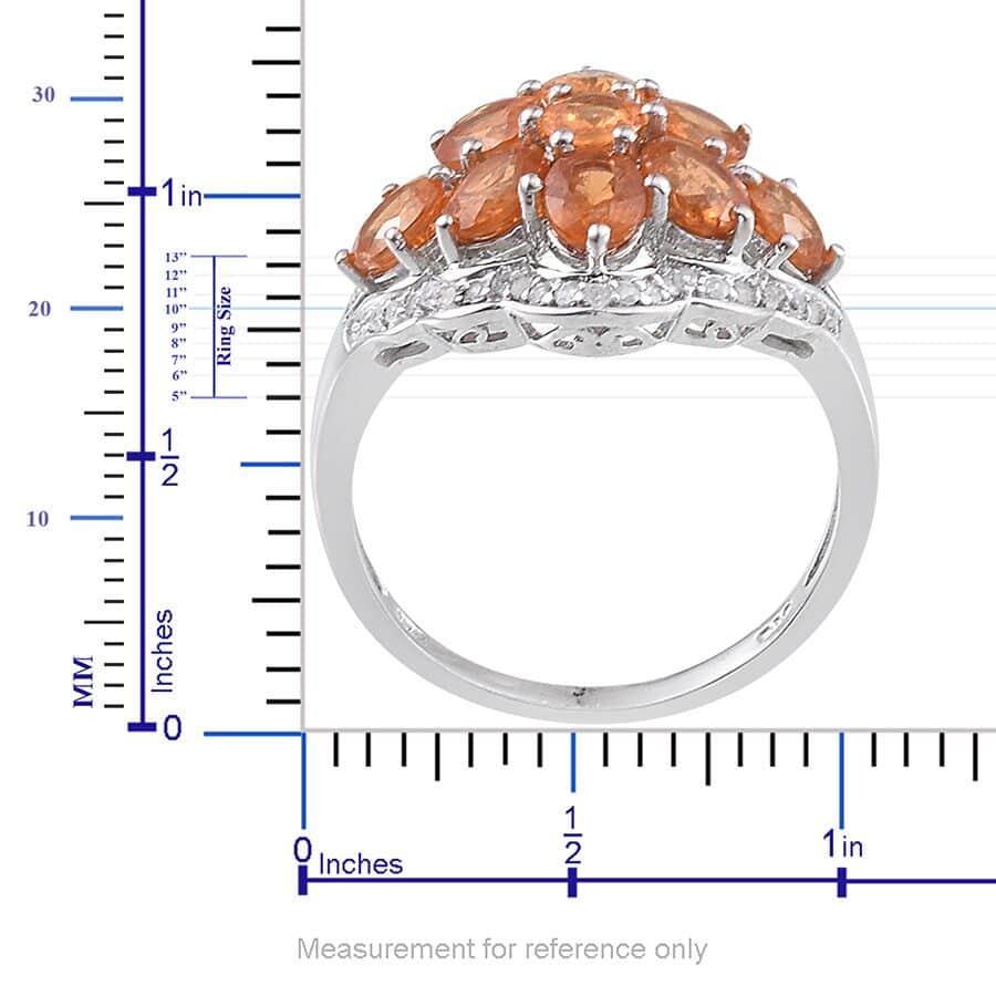 Viceroy Spessartite Garnet, White Zircon Platinum Over Sterling Silver Ring (Size 7.0) TGW 5.22 cts.