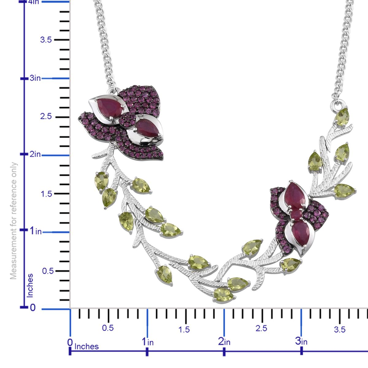 GP Niassa Ruby, Multi Gemstone Platinum Plated Sterling Silver Necklace (18 in) TGW 17.190 cts.