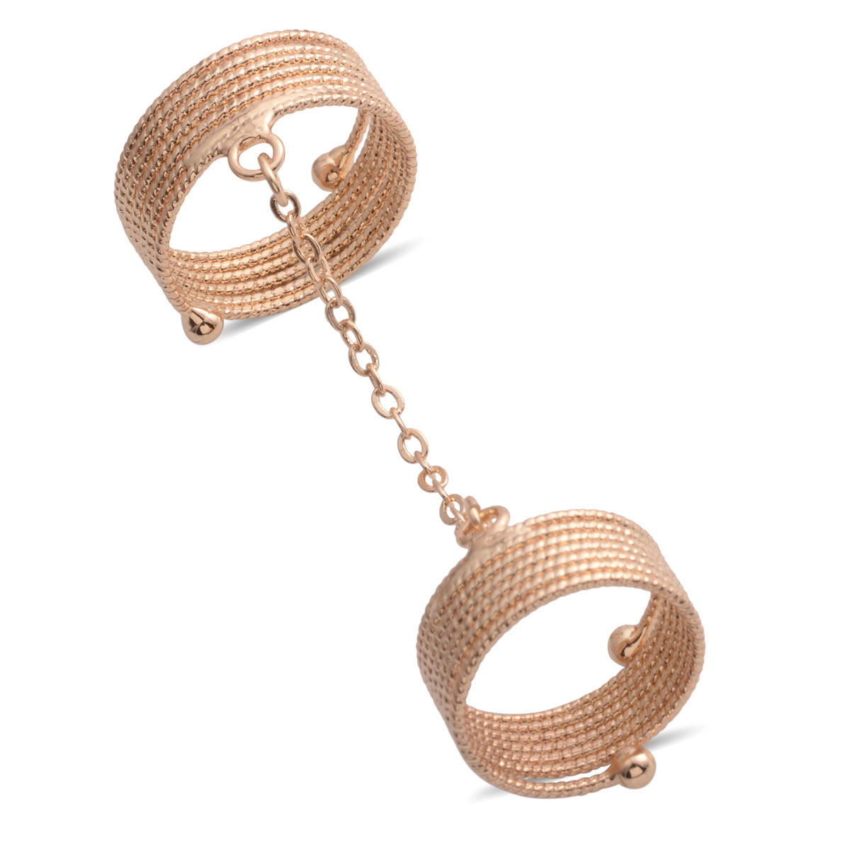 Silvertone and Goldtone Set of 2 Linked Rings (Size 8)