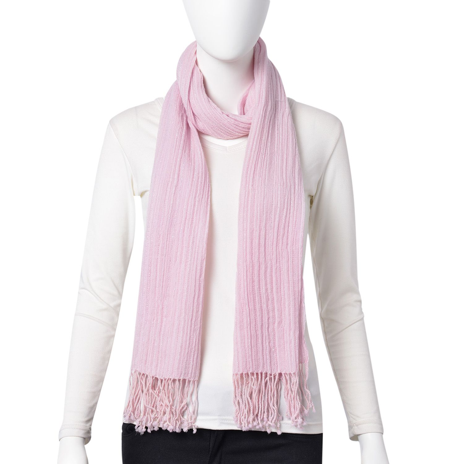 Pink 100% Wool Scarf with Braided Tassles (18x72 in)