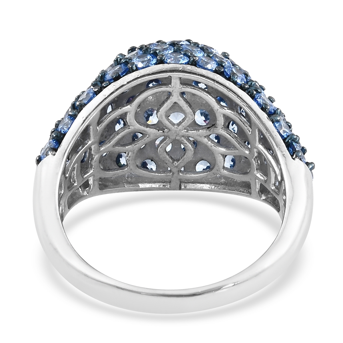 9d5a68e37 ... J Francis - Platinum Over Sterling Silver Cluster Ring Made with Arctic  Blue SWAROVSKI ZIRCONIA ...