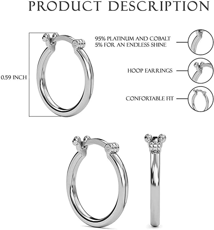 RHAPSODY 950 Platinum Loops Circle Hoop Hoops Earrings Valentines Gift for Women