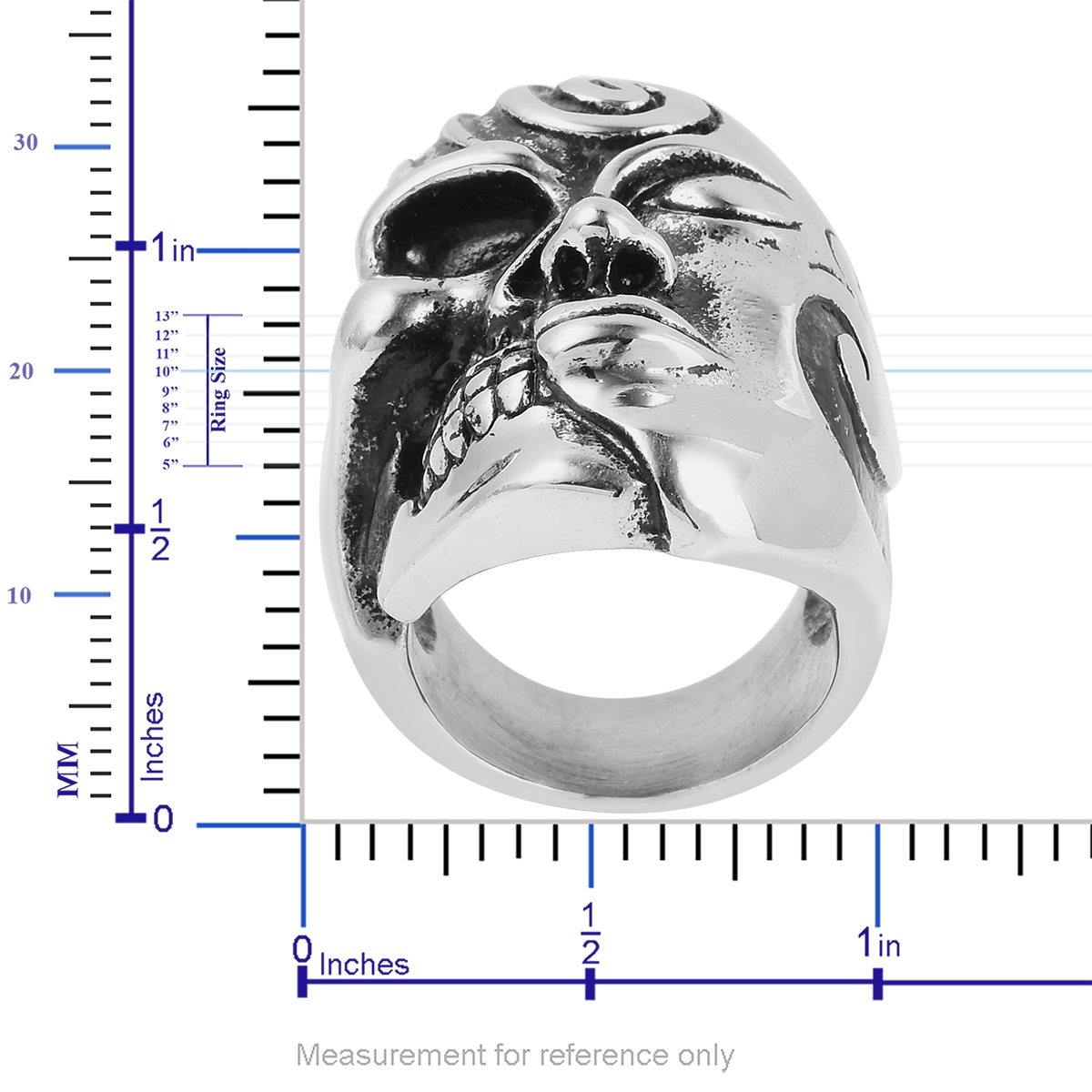 Black Oxidized Stainless Steel Men's Dual Face Ring (Size 11.0)