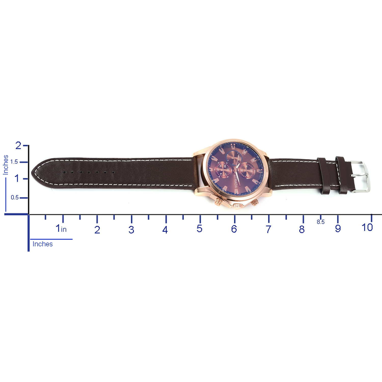 STRADA Japanese Movement Water Resistant Watch with Brown Faux Leather Band and Stainless Steel Back