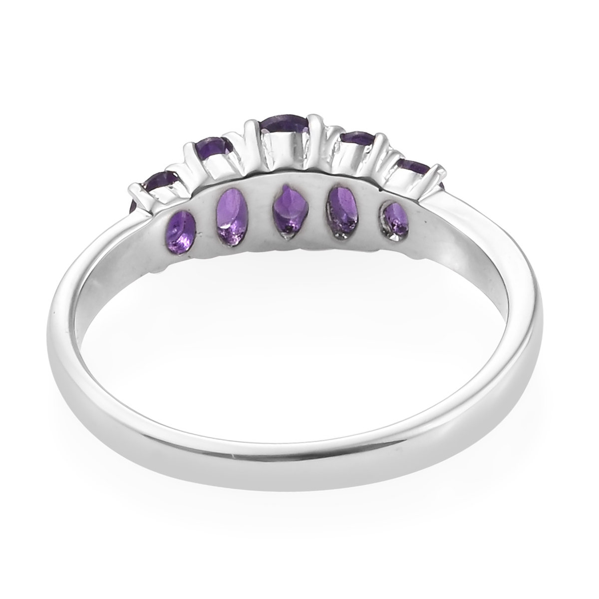 Amethyst 5 Stone Ring in Stainless Steel (Size 9.0) 1.24 ctw