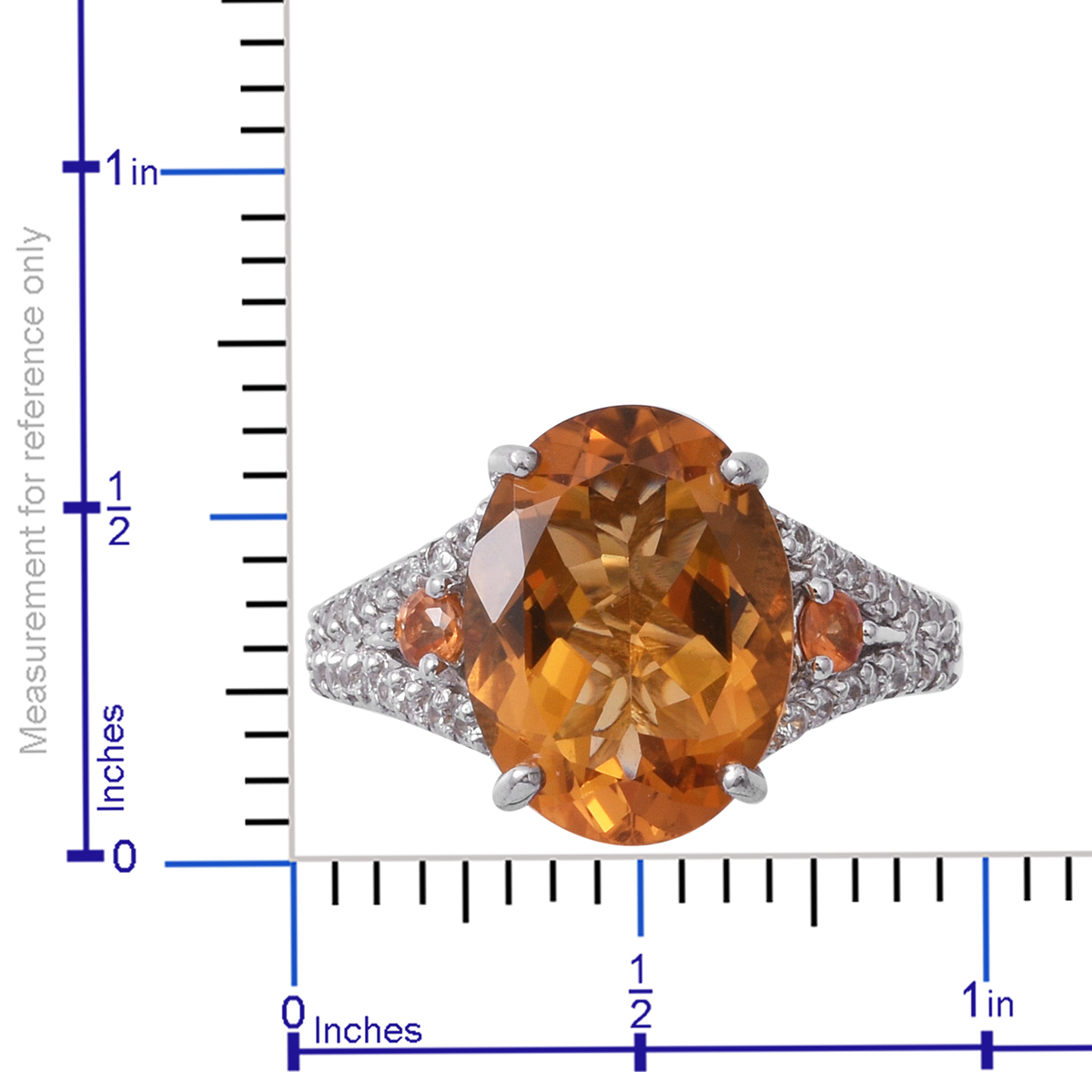 Brazilian Citrine, Multi Gemstone Platinum Over Sterling Silver Ring (Size 10.0) TGW 9.55 cts.