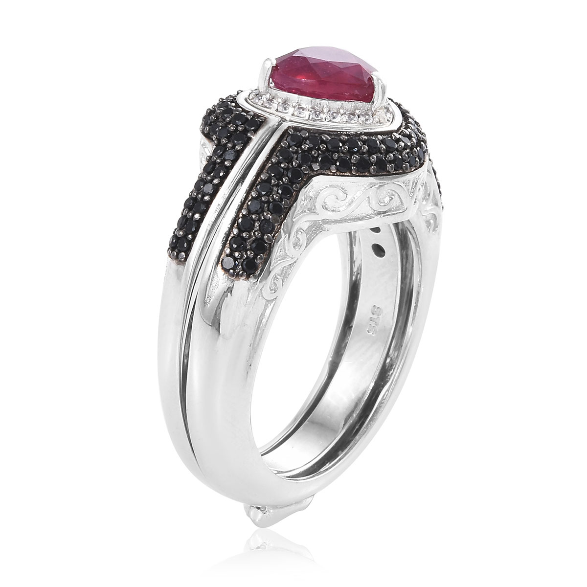 Niassa Ruby, Multi Gemstone Caged Ring in Rhodium & Platinum Over Sterling Silver (Size 11.0) (Avg. 16.2 g) 5.00 ctw