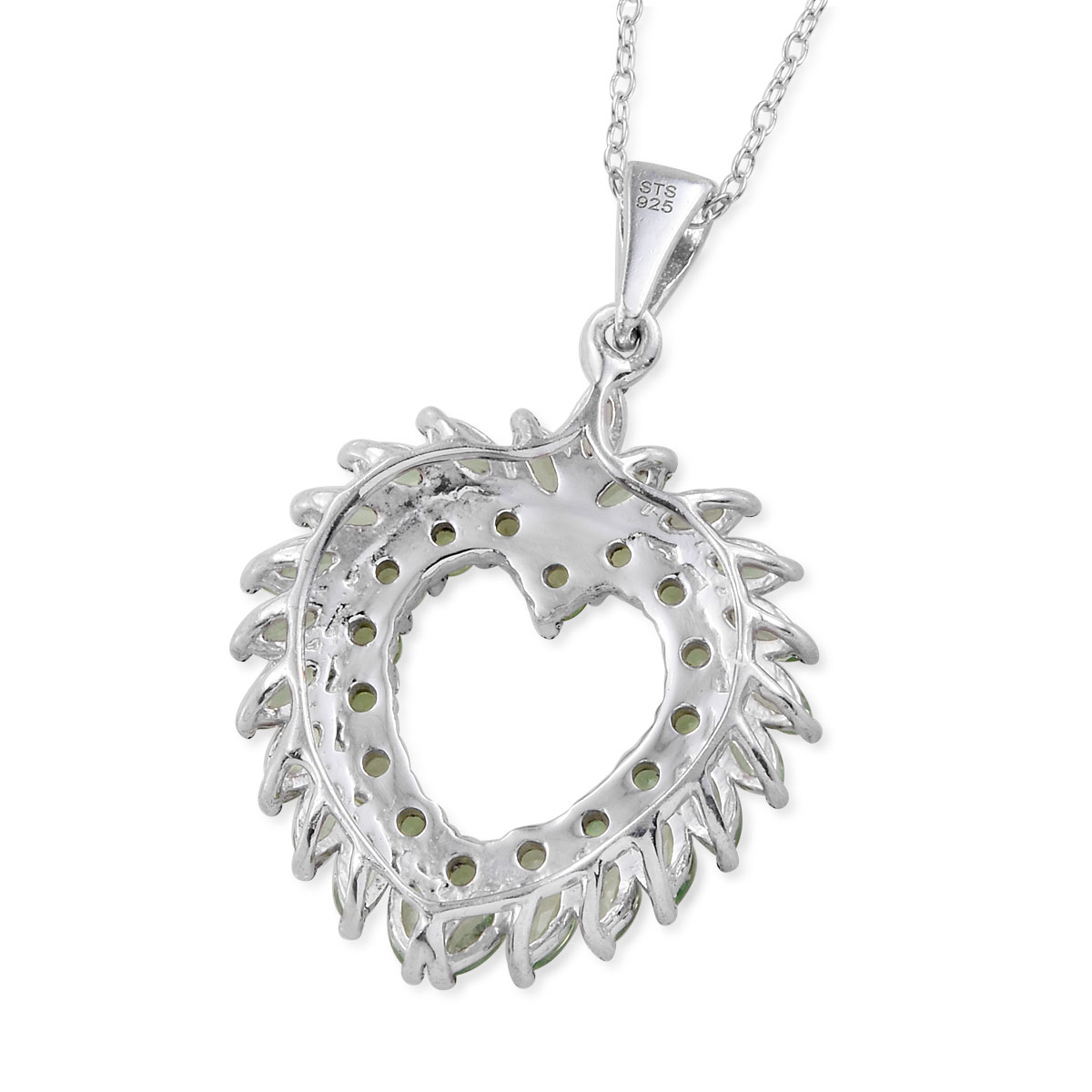 Mint Garnet Heart Wreath Pendant Necklace (20 in) in Platinum Over Sterling Silver 3.02 ctw