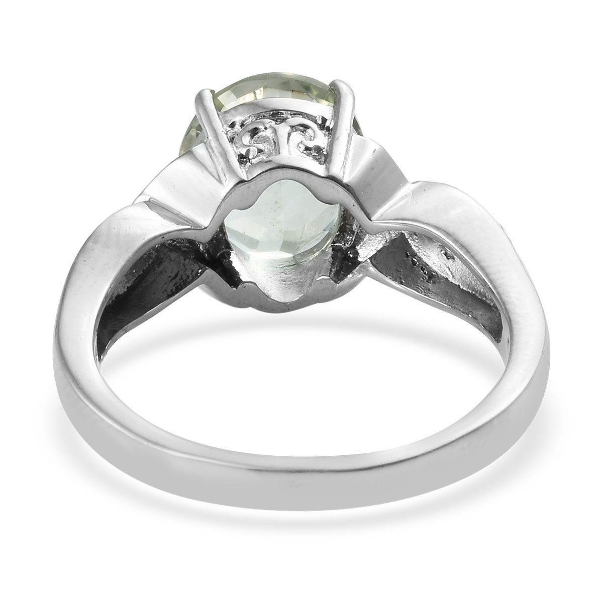 Green Amethyst Ring in Stainless Steel (Size 10.0) 4.20 ctw