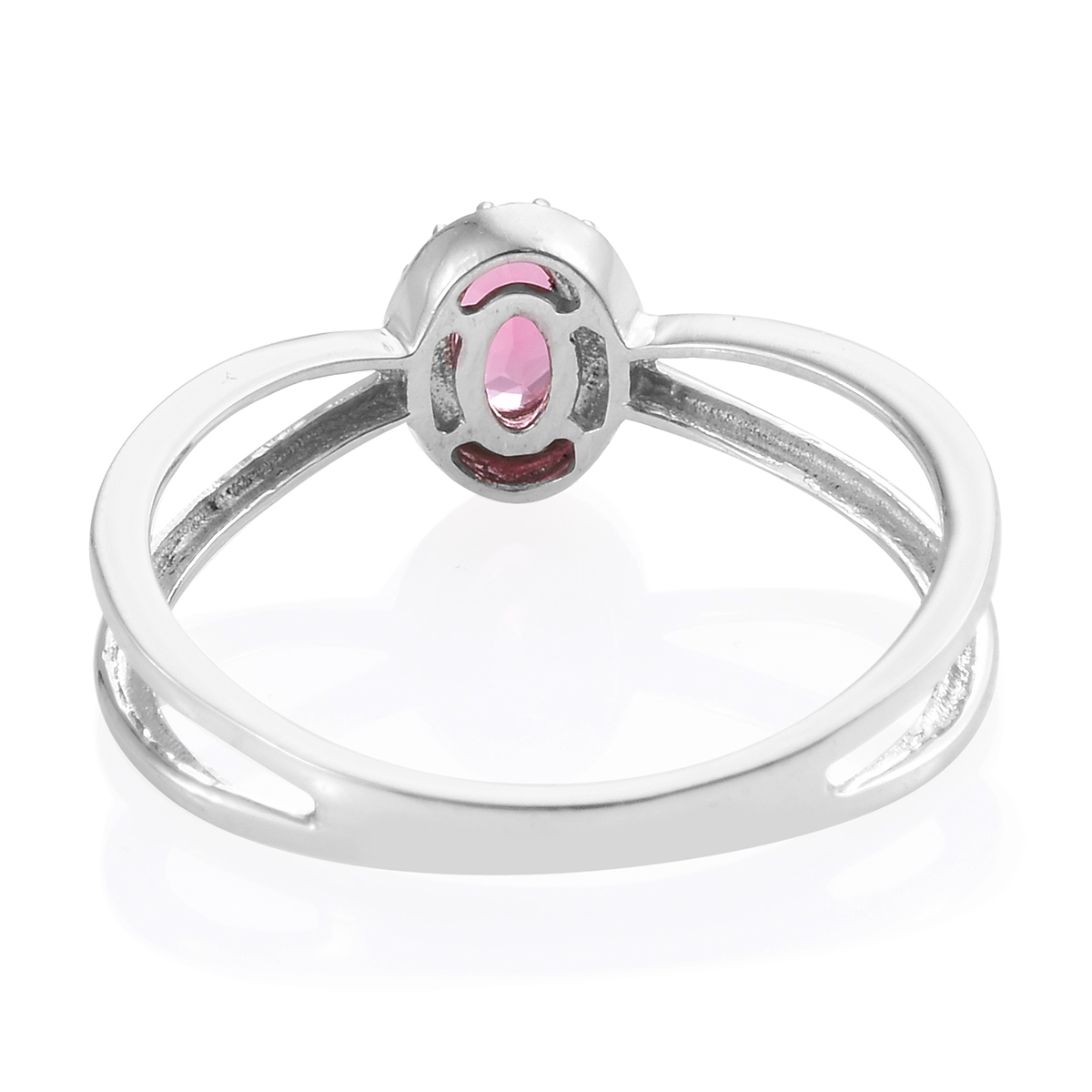 Morro Redondo Pink Tourmaline Split Ring in Platinum Over Sterling Silver (Size 7.0) 0.45 ctw