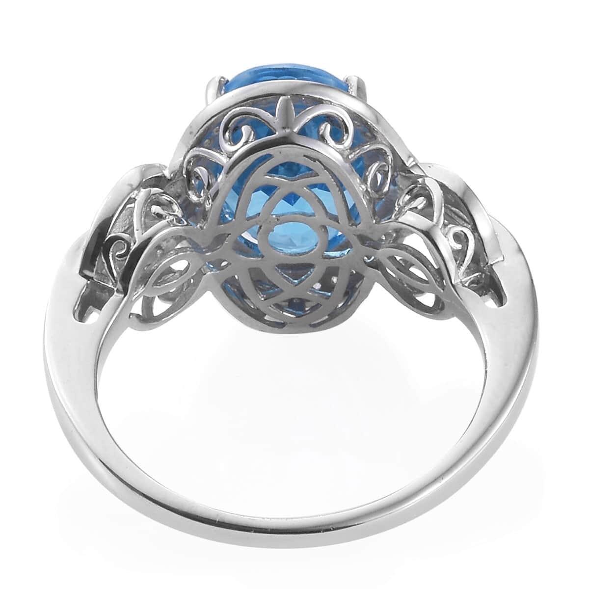 Marambaia Topaz, Cambodian Zircon Ring in Platinum Over Sterling Silver (Size 8.0) 8.15 ctw