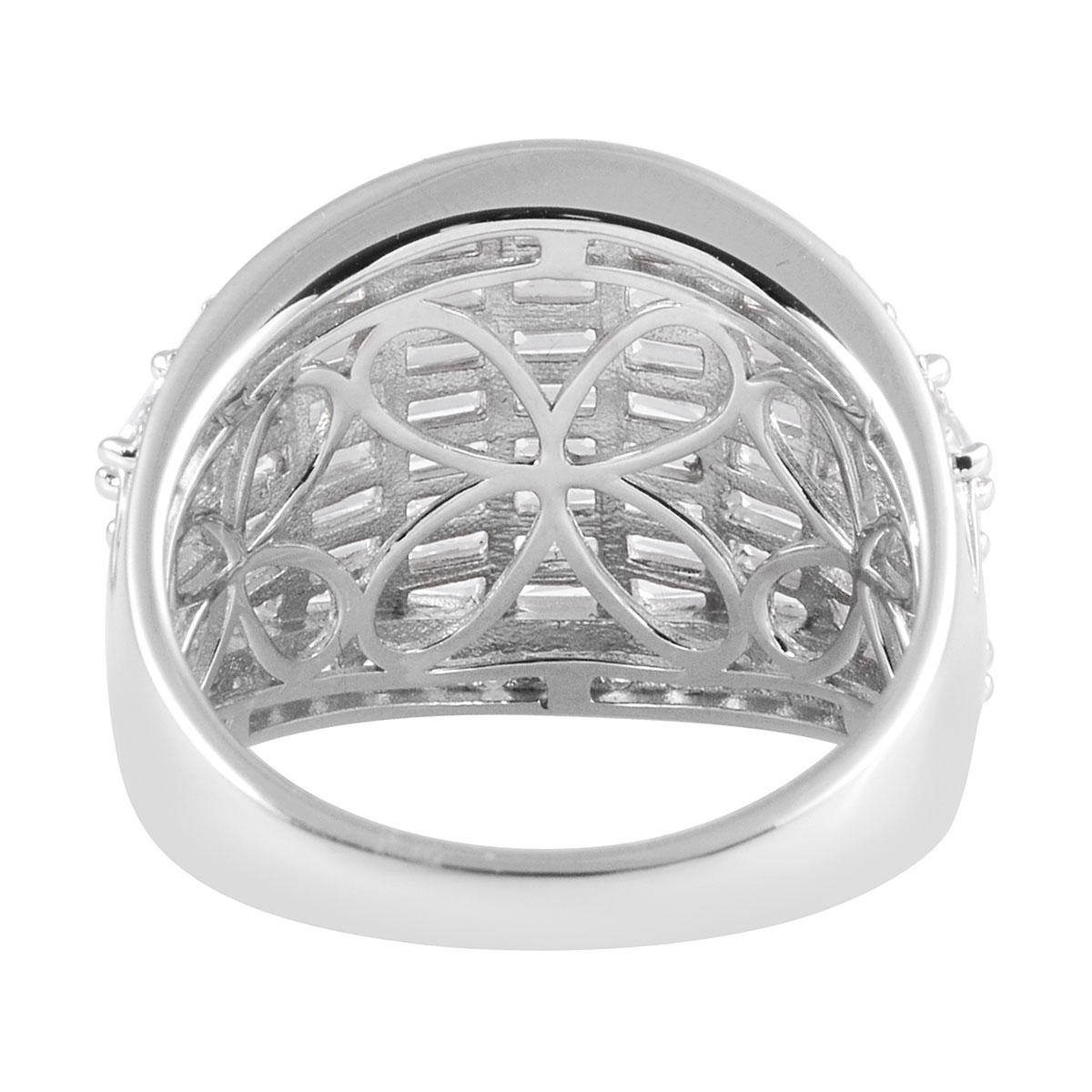 LUSTRO STELLA CZ Cluster Ring in Sterling Silver (Size 8.0) 7.43 ctw