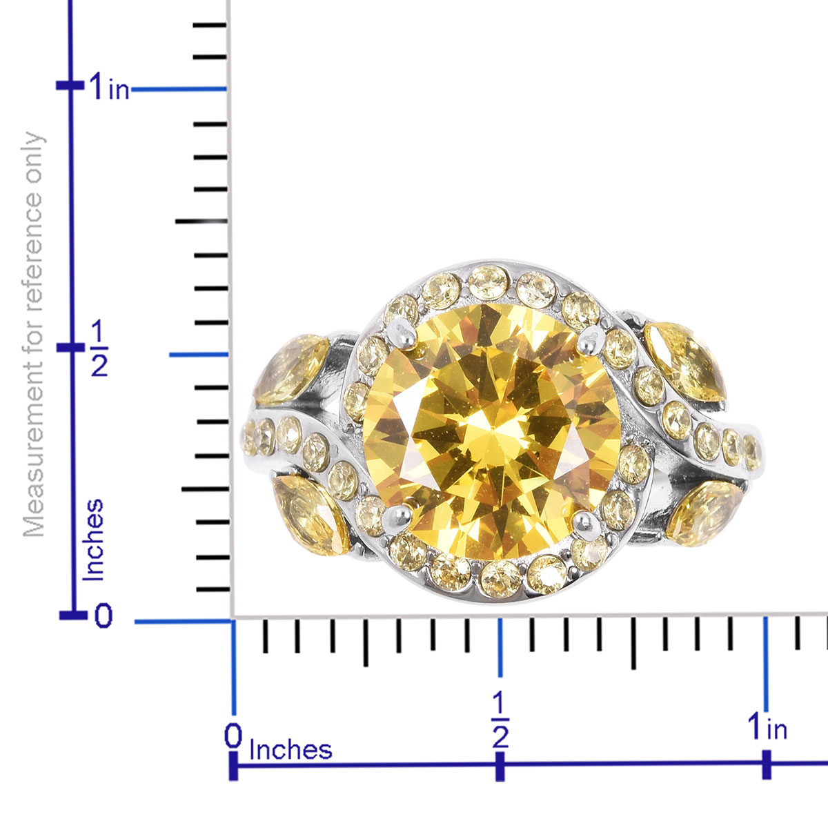 Yellow CZ Ring (Size 8) and Pendant Necklace (20 in) in Stainless Steel 4.95 ctw