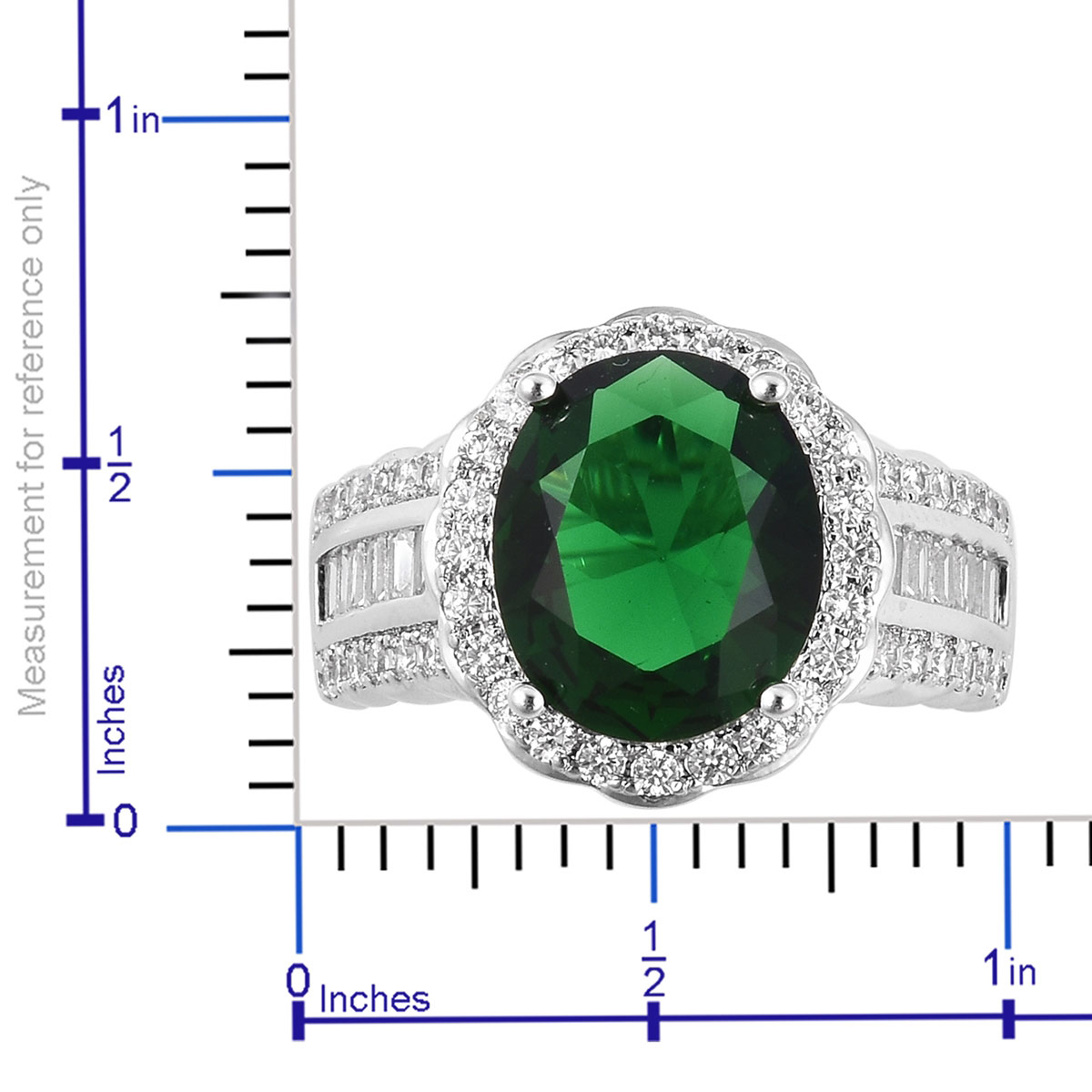Green Glass, White CZ Ring in Silvertone (Size 9.0) 1.55 ctw