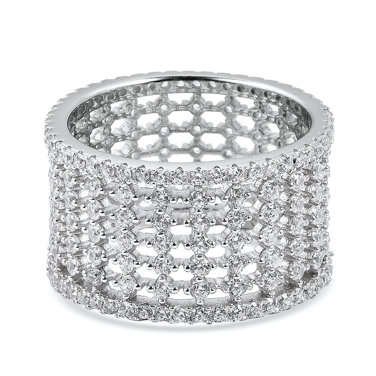 LUSTRO STELLA CZ Band Ring in Sterling Silver (Size 7.0) 3.30 ctw