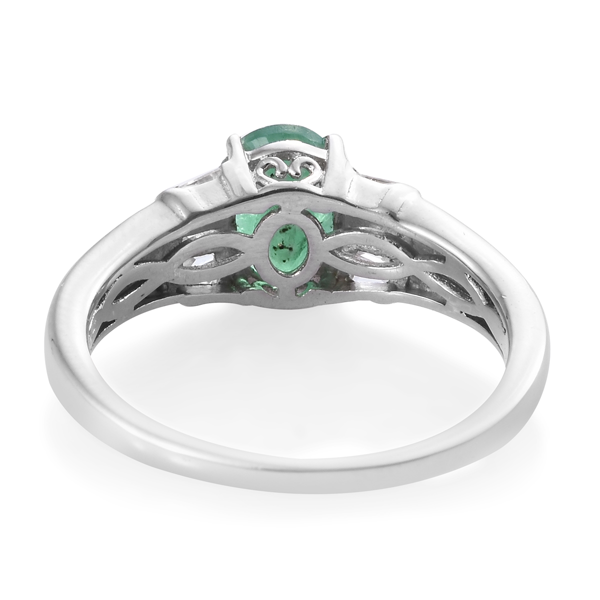 Socoto Emerald, Cambodian Zircon Ring in Platinum Over Sterling Silver (Size 8.0) 2.25 ctw
