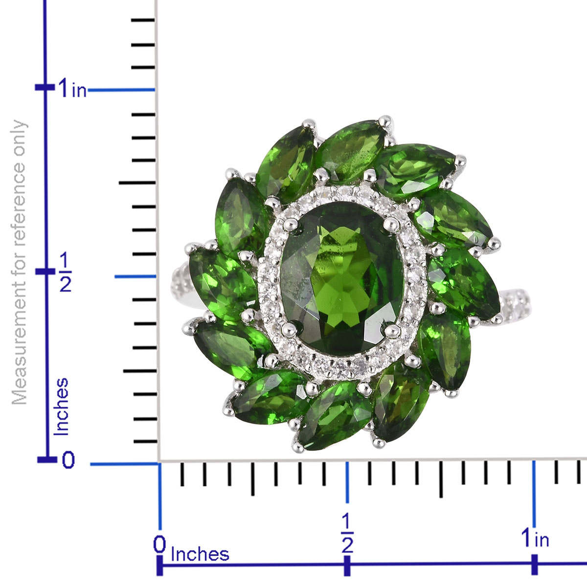 Russian Diopside, White Zircon Ring in Sterling Silver (Size 7.0) 5.30 ctw
