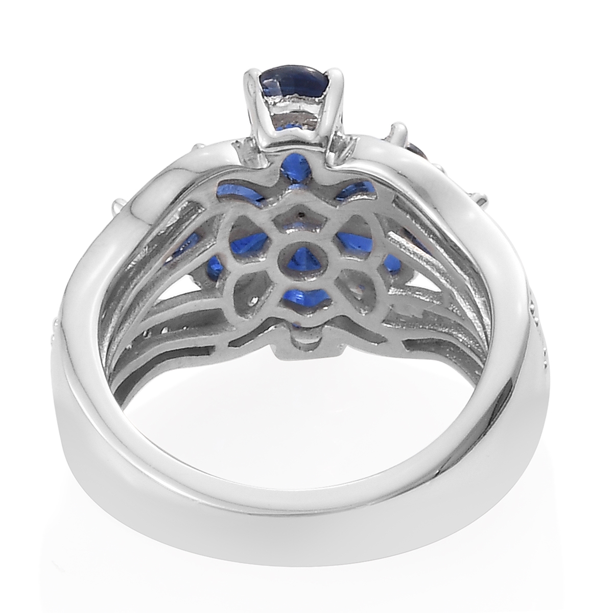 Kashmir Kyanite, Cambodian Zircon Flower Ring in Platinum Over Sterling Silver (Size 5.0) 3.07 ctw