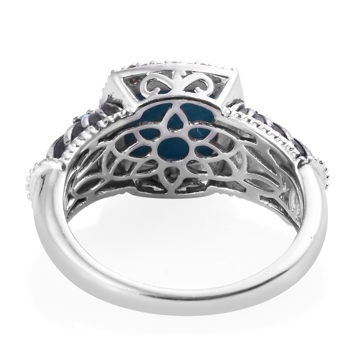 Arizona Sleeping Beauty Turquoise, Cambodian Zircon Ring in Platinum Over Sterling Silver (Size 8.0) 4.12 ctw