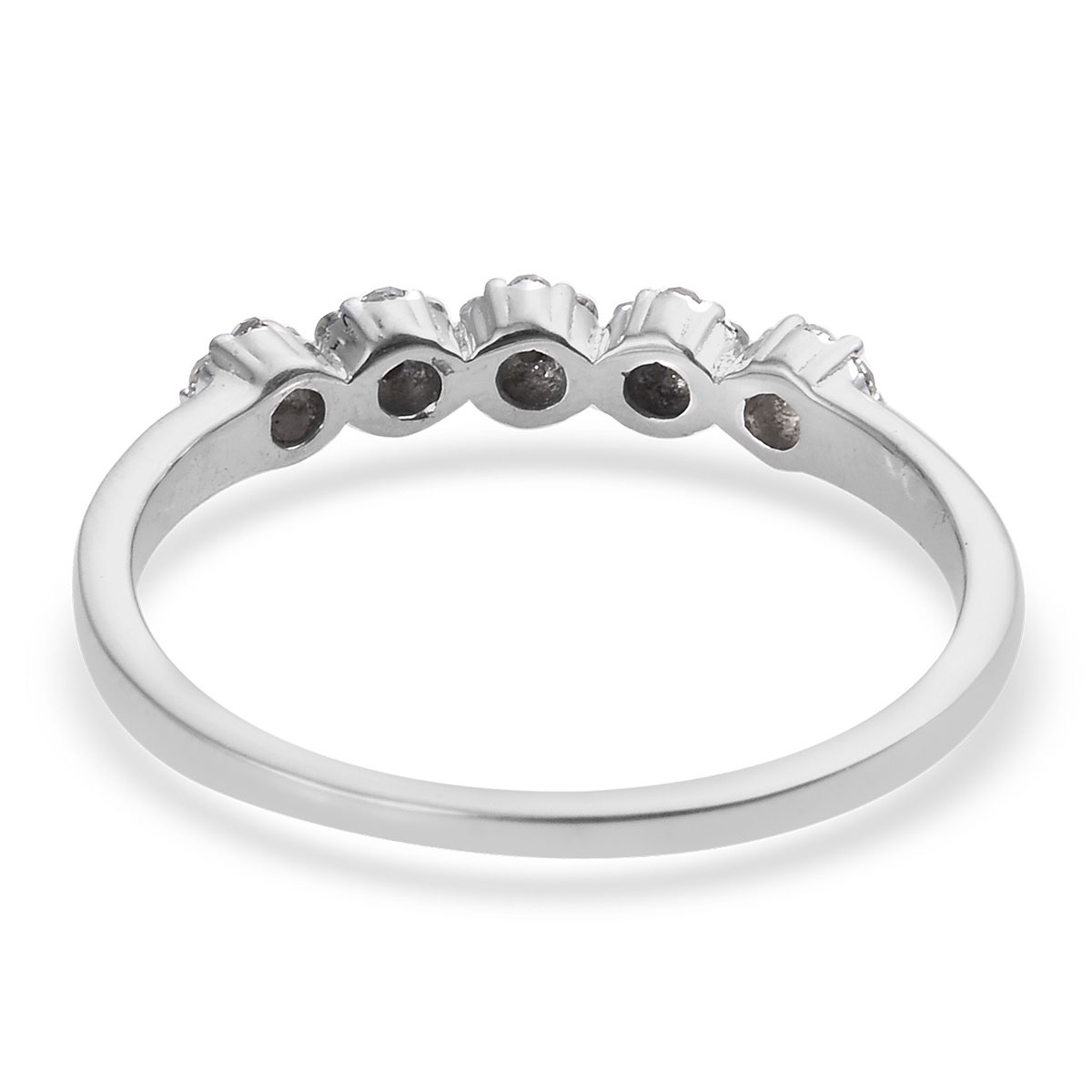 Diamond Ring in Platinum Over Sterling Silver (Size 7.0) 0.25 ctw