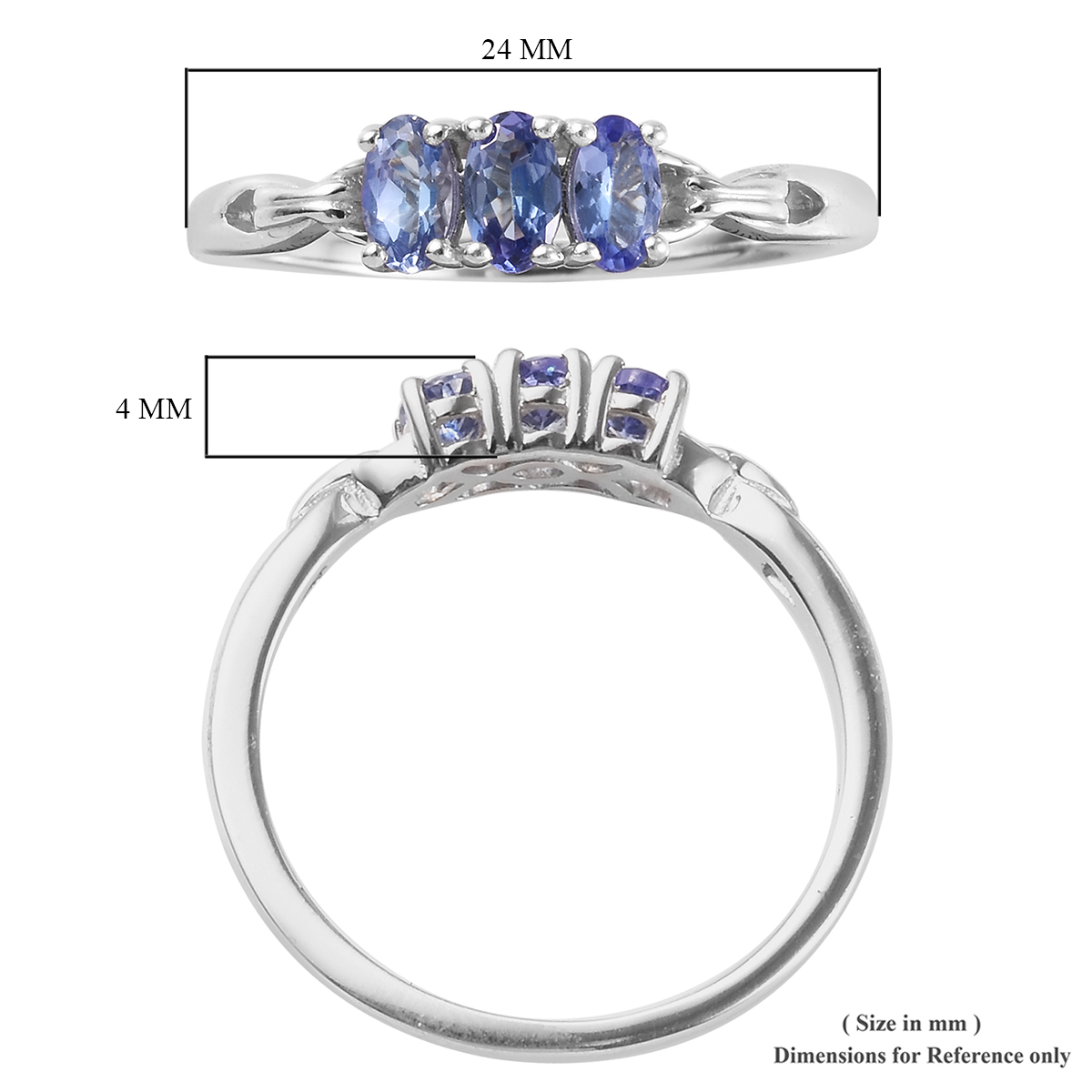 Tanzanite Trilogy Ring in Platinum Over Sterling Silver (Size 10.0) 0.75 ctw