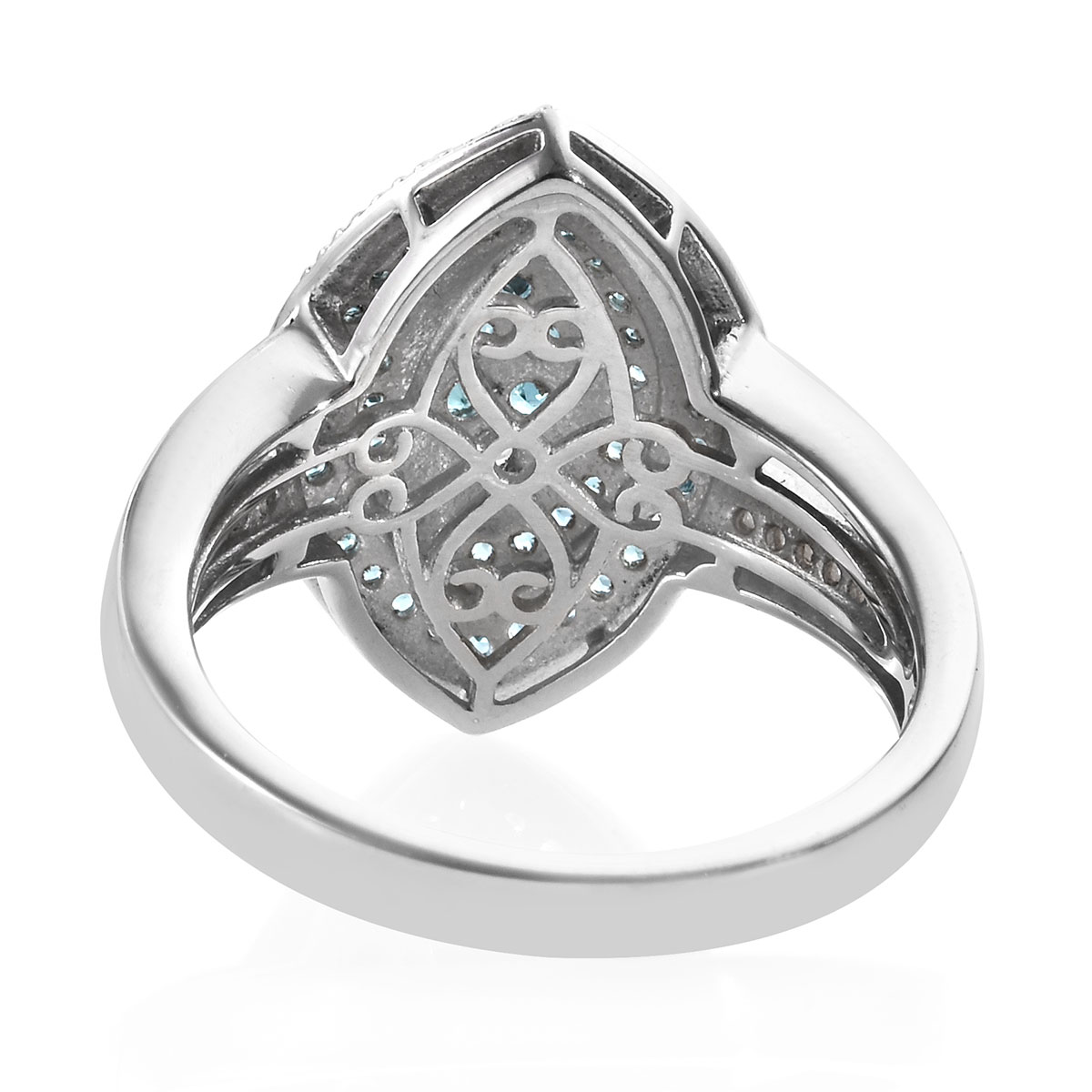Monte Belo Indicolite, Zircon Ring in Platinum Over Sterling Silver (Size 8.0) 1.06 ctw