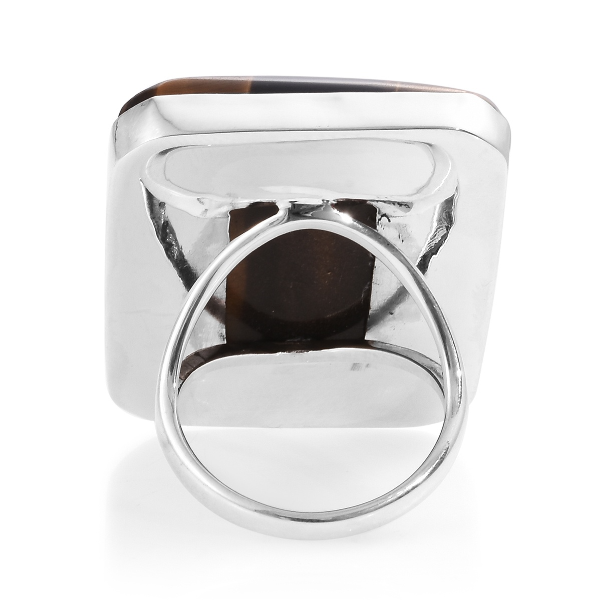 Sarah's Host Pick Artisan Crafted South African Tigers Eye Ring in Sterling Silver (Size 9.0) 126.42 ctw