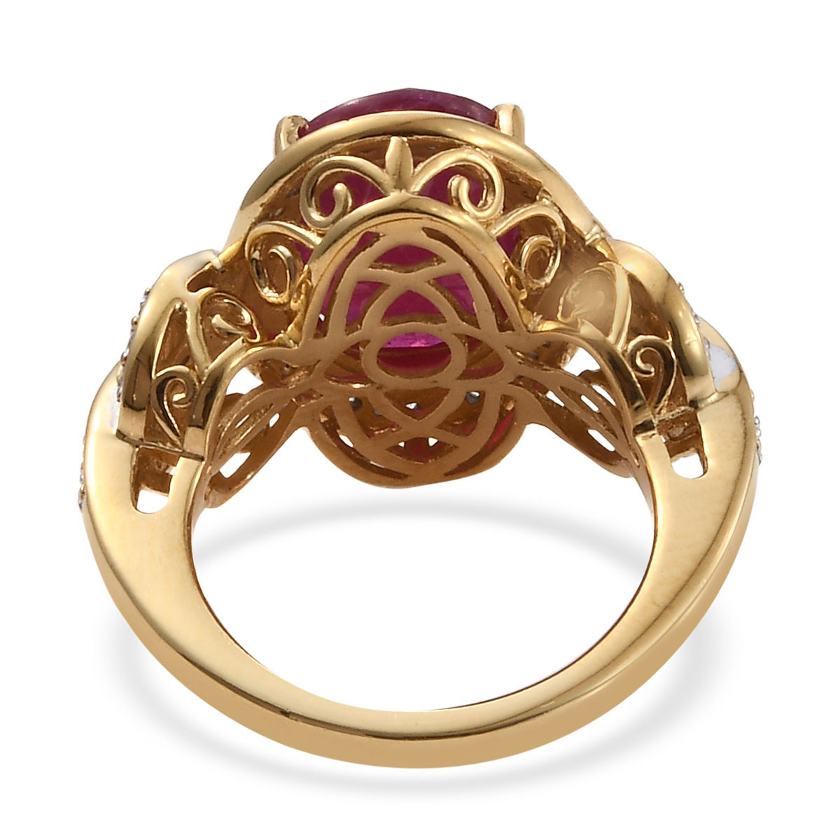 Niassa Ruby, Zircon Ring in Vermeil YG Over Sterling Silver (Size 10.0) 9.08 ctw