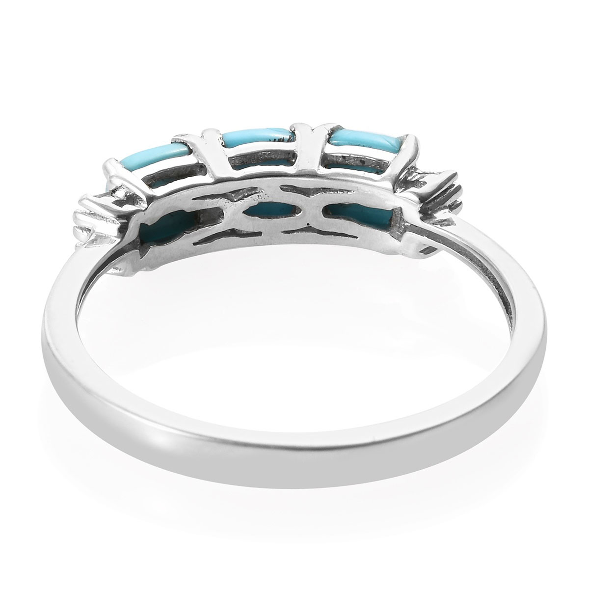 Arizona Sleeping Beauty Turquoise, Diamond (0.06 ct) Ring in Platinum Over Sterling Silver (Size 5.0) 1.78 ctw