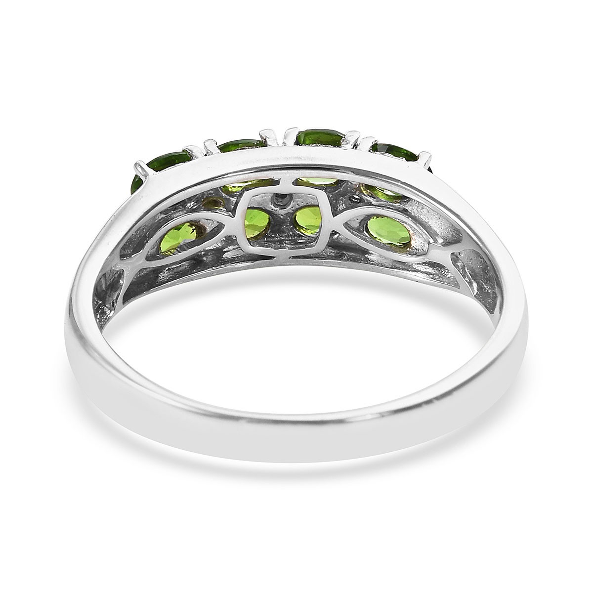 Russian Diopside Ring in Platinum Over Sterling Silver (Size 8.0) 1.50 ctw