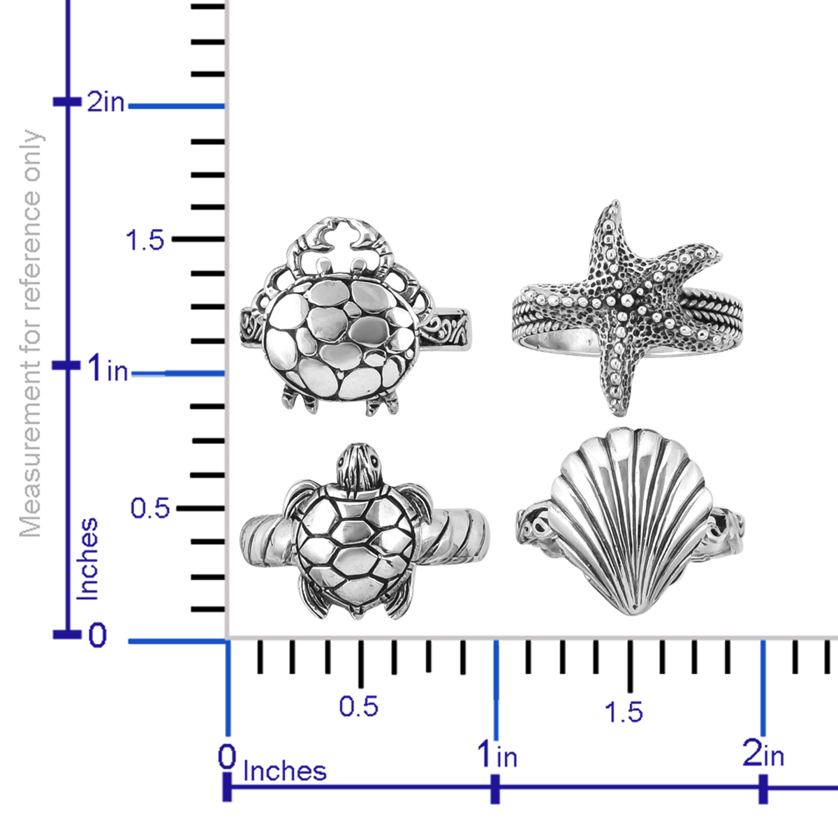 BALI LEGACY Ocean Life Set of 4 Rings in Sterling Silver (Size 6.0) (Avg. 12 g)