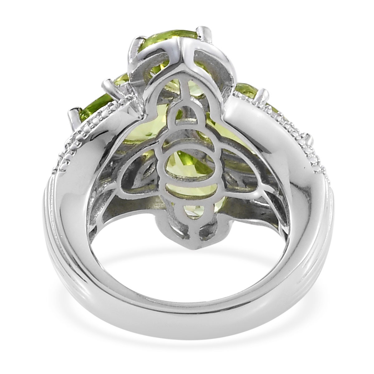 Hebei Peridot, Zircon Ring in Platinum Over Sterling Silver (Size 5.0) (Avg. 8.30 g) 6.16 ctw