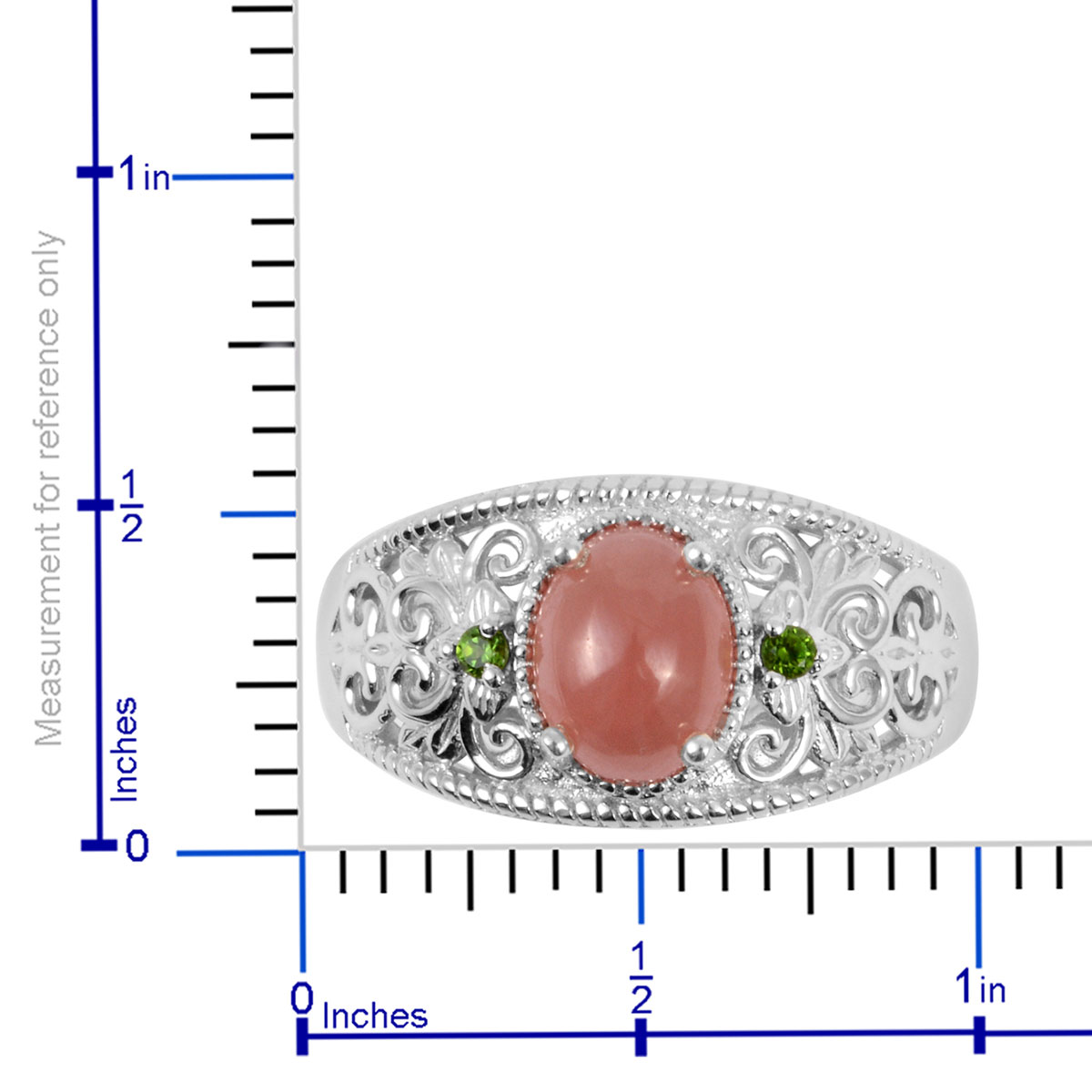 Peruvian Honey Rhodochrosite, Russian Diopside Ring in Platinum Over Sterling Silver (Size 11.0) 2.85 ctw